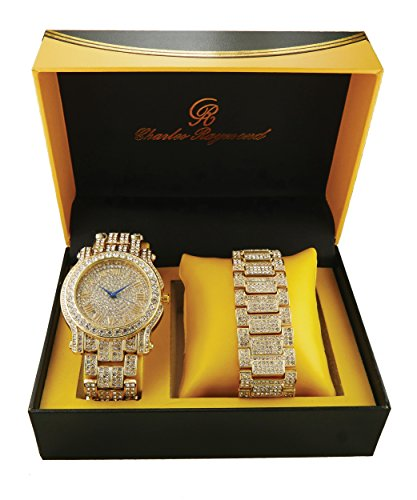 Ice'd Out Watch and Matching Bracelet fit for a King!! Mens Hip Hop Iced Out Gold Tone Simulated Diamond Watch & Bracelet Gift Set - L0504B/8475B Gold