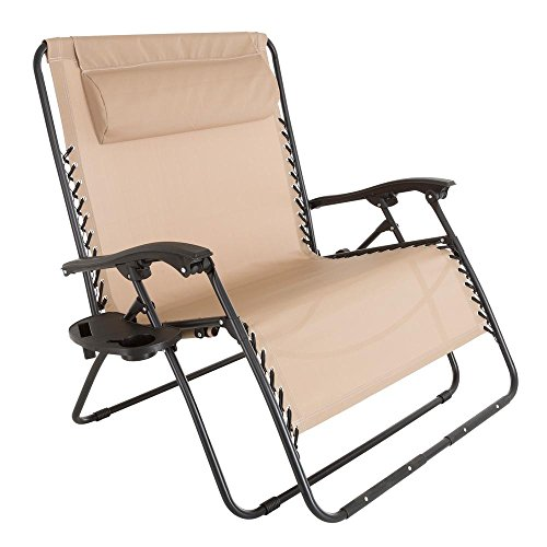 (Pure Garden Zero Gravity Beige Metal Reclining Lawn Chair)