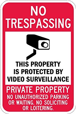 "SmartSign Security Sign, Legend ""No Trespassing - Video Surveillance"", Black/Red on White"