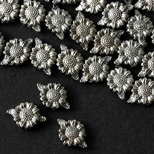 Cherry Blossom Beads Gun Metal Colored Pewter 13mm Leaf to Leaf 3mm Thick Sunflower Beads - 8 inch Strand