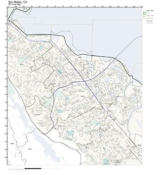 Amazon Com Zip Code Wall Map Of San Mateo Ca Zip Code Map Not