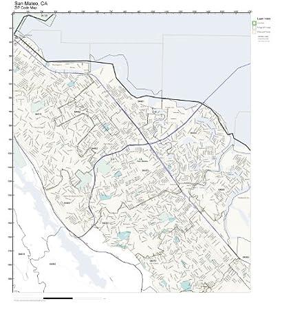 Amazon Com Zip Code Wall Map Of San Mateo Ca Zip Code Map