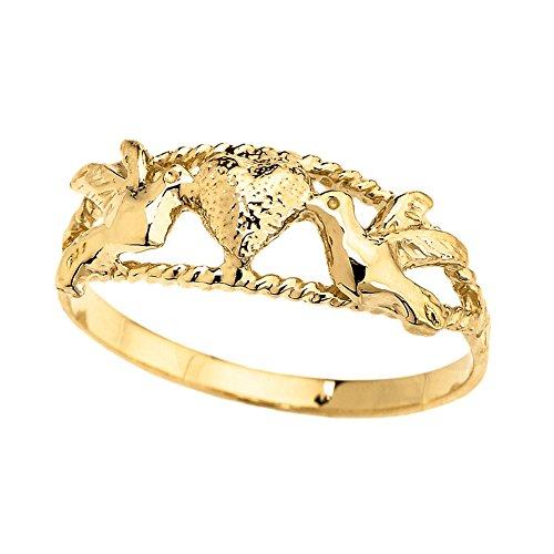 Elegant 14k Yellow Gold Lovebirds' Heart Ring (Size 4.25) 14k Yellow Gold Love Birds