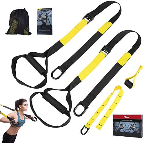 TSKF Bodyweight Fitness Resistance Trainer Kit, Home Gym Outdoor Fitness Training Straps for Complete Body Workout with Training Programs Guide, Door Anchor, Extension Strap