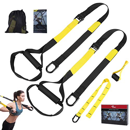 TSKF Bodyweight Fitness Resistance Trainer Kit, Home Gym & Outdoor Fitness Training Straps for Complete Body Workout with Training Programs & Guide, Door Anchor, Extension Strap