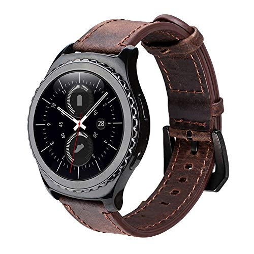 iBazal Gear S2 Classic Leather Band 42mm,Vintage Gear S2 Classic Band 20mm with Black Clasp Genuine Leather Strap Replacement Band for Samsung Gear S2 Classic Smart Watch SM-R732 - Coffee+Black Clasp