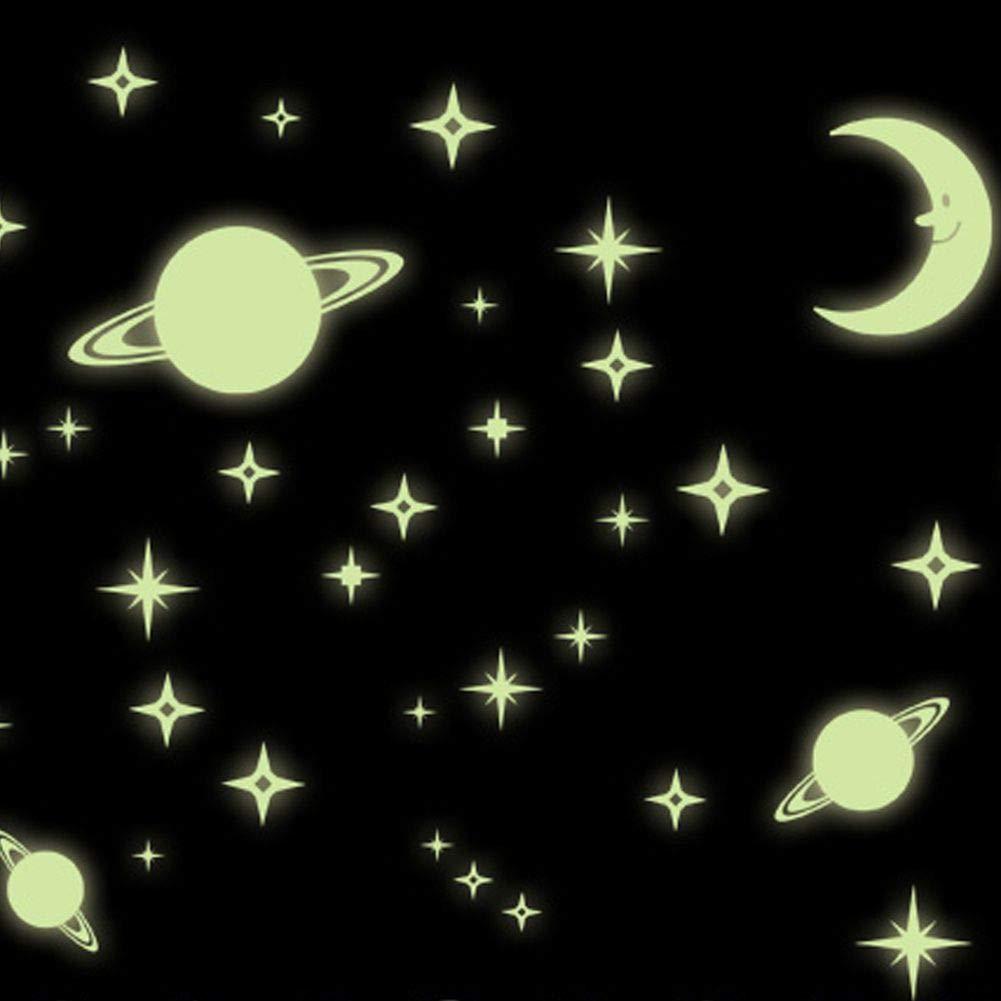 PVC Yalatan Sticker mural fluorescent pour chambre denfant MotifMeteor Moon Flake Moon Flake Moon A m