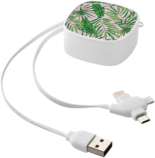 Multi Charging Cable Portable 3 in 1 Tropical Rain Dots Orange Green Yellow Throw Pillow USB Power Cords for Cell Phone Tablets and More Devices Charging