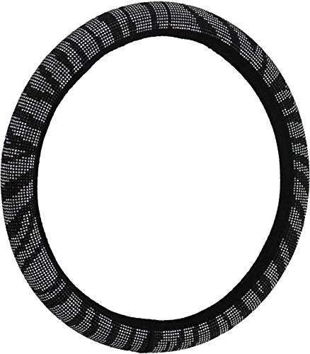 Studded Zebra - Bell Automotive 22-1-97181-9 Universal Studded Gem Hyper-Flex Core Steering Wheel Cover, Zebra