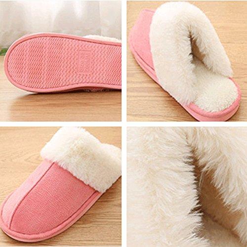 Lingmin Unisex Pluche Bonten Slip-on Comfort Slippers Binnen / Buiten, Gezellige Antislip, Zachtheid Badstof Roze