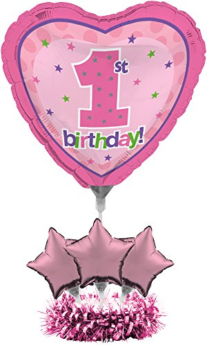 Creative Converting Balloon Centerpiece Kit, 1st Birthday Girl (Center Piece Plate compare prices)