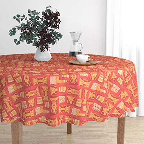 Roostery Round Tablecloth - Tiki Orange Tropical Hawaiian Pahu Pahu (Lava) Tiki Orange Tiki Hawaiian Shirt by Brianrechenmacher - Cotton Sateen Tablecloth 70in