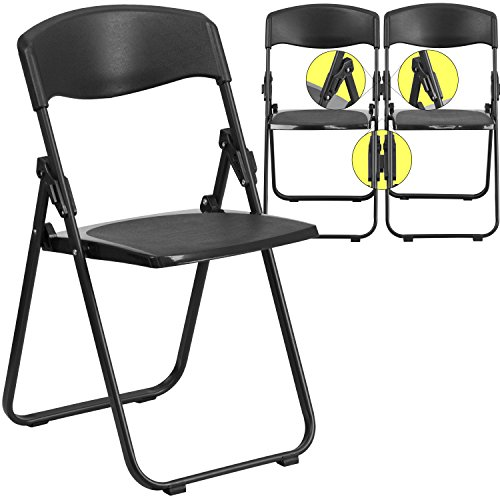 (880 lb. Capacity Heavy Duty Black Plastic Folding Chair with Built-in Ganging Brackets)