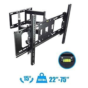 tv wall mount articulating full motion15 tilt 160 swivel for 50 55 60 65 70 75 new. Black Bedroom Furniture Sets. Home Design Ideas