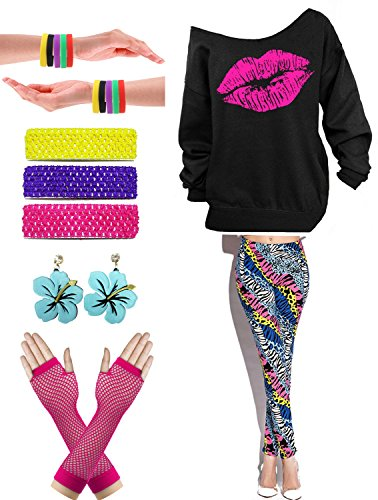 * NEW * Womens Off Shoulder Lips Print Sweatshirt with Costume Accessories