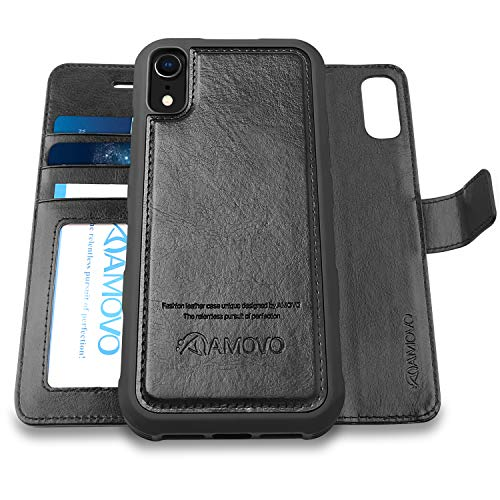[Upgraded Version] AMOVO Case for iPhone XR [2 in 1] [Wireless Charger] iPhone XR Wallet Case Detachable [Vegan Leather] iPhone XR (6.1