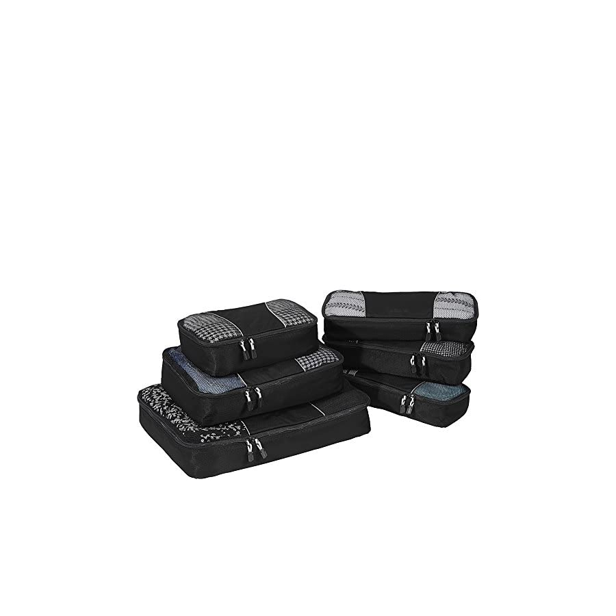 eBags Packing Cubes for Travel 6pc Value Set (Black)