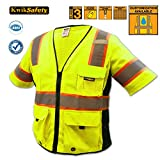 KwikSafety ANSI Class 3 Executive Deluxe Safety Vest | Hi Viz Reflective Comfortable Radio Loop Multi-Pockets | Motorcycles Security Construction Traffic Running Emergency |Men Women | Yellow 2XL/3XL offers