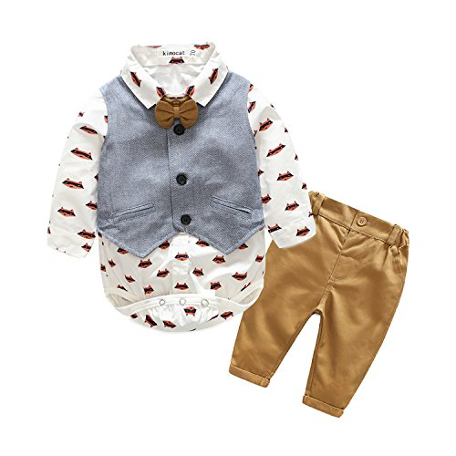 (Xiangwu Textitle Baby Boy Bodysuit Gentleman Bowtie Long Sleeve Shirt Vest Pants Jumpsuit)