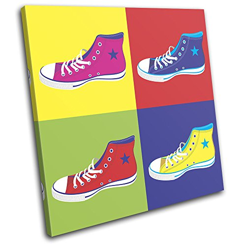 Bold Bloc Design - Shoes Pop Art All star Fashion 90x90cm SINGLE Canvas Art Print Box Framed Picture Wall Hanging - Hand Made In The UK - Framed And Ready To Hang -