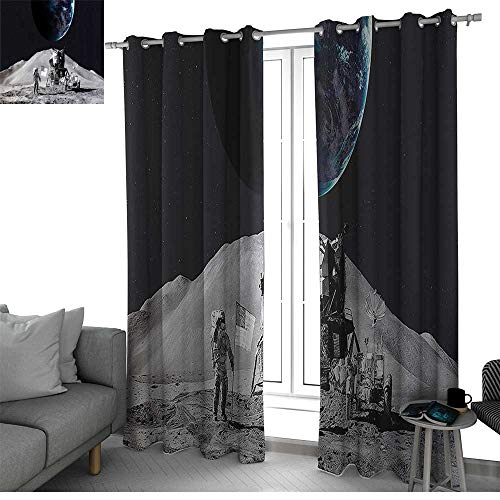 Outer Space Decor Kitchen/Bedroom Window Treatments Home Decoration Moon US Spaceman Launching on The Exploring Dark Matter Orbit Luna Design Blackout Curtain Grey Blue W96 x L96 ()