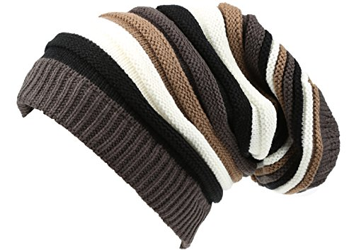 Sakkas 16144 - CeeLo Long Tall Slouchy Unisex Striped Ribbed Kint Adjustable Beanie Hat - Black/Brown - OS ()
