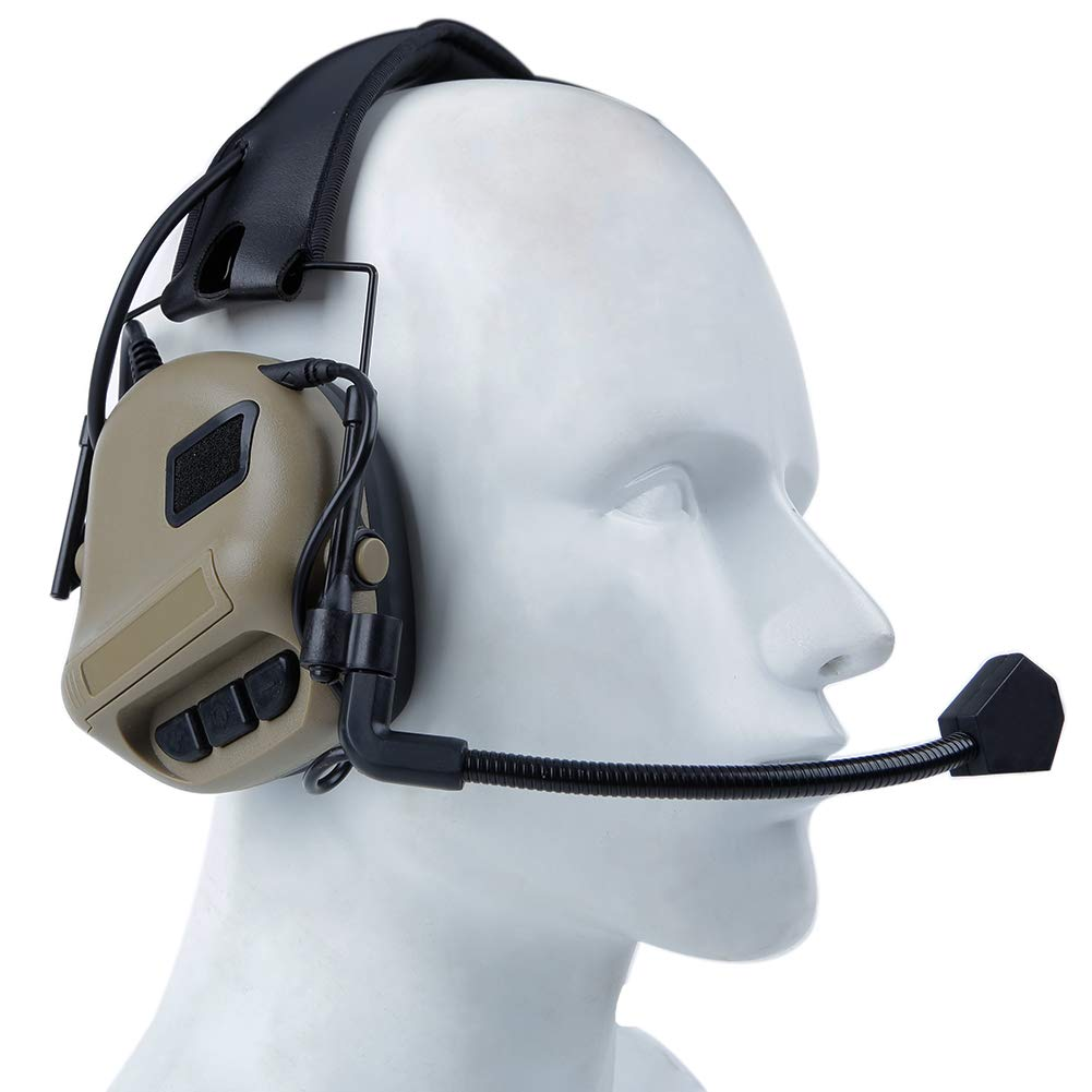 id/éal pour Le tir et la Chasse Huenco Casque Tactique Casque antibruit avec Protection auditive /électronique NRR 21 DB avec Microphone Amovible