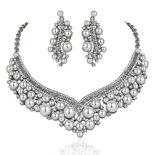 Janefashions Sexy Faux White Ivory Pearl Austrian Rhinestone Crystal Bib Statement Necklace Earrings Jewelry Set Bridal Wedding Silver or Gold Plated Party Prom N12127 (Silver Tone)
