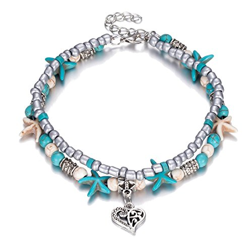 TTPAIAI 30 Turtle Anklets Multiple Layered Boho Gold Chain Anklet Heart Beach Rhinestones Turquoise Stone Charm Anklet (Heart) ()