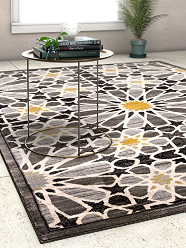 Carrara Floral Yellow & Grey Mosaic Area Rug 5 x 7 (5'3