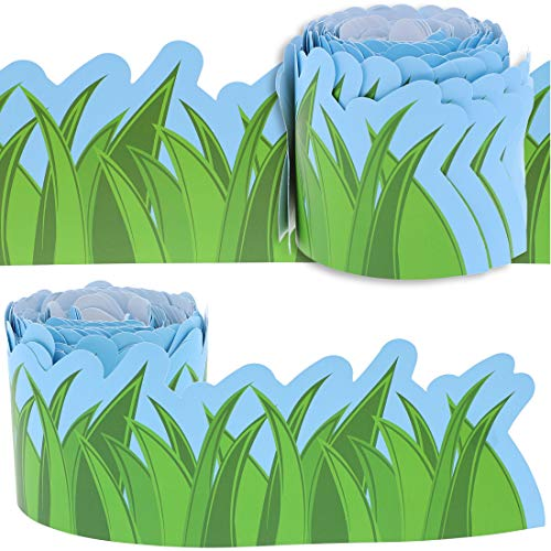 Juvale 12-Pack Bulletin Board Grass Design Scalloped Border Decoration for Classroom, 3 x 36 Inches -
