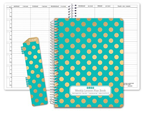HARDCOVER 7 Period Dated Teacher Lesson Plan; Days Horizontally Across The Top Dated for 2019-2020 Academic Year (D101) (+) Bonus Clip-in Bookmark (Gold Dots Turquoise)