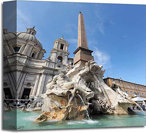 噴水の4つの川Piazza Navona、ローマギャラリーWrappedキャンバスアート 12in. x 12in. B073WMX77B  12in. x 12in.