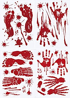ATDAWN 63 PCS Bloody Footprints Floor Clings Halloween Vampire Zombie Party Window Decals Wall Stickers Decor Halloween Decorations Blood Splatter Stickers Supplies