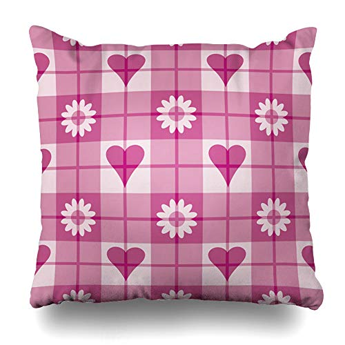 Ahawoso Throw Pillow Cover Pink Checkerboard 12 Plaid Pattern Quot Hearts Flowers Patchwork Checkered Checks Glen Magenta Design Home Decor Cushion Case Square Size 20 x 20 Inches Zippered Pillowcase ()