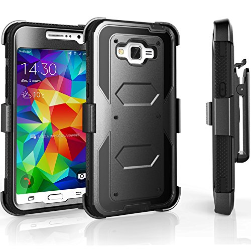 Core Prime Case, Tekcoo [TShell Series] [Coal Black] Shock Absorbing [Built-in Screen] Holster Locking Belt Clip Defender Heavy Duty Case Cover Shell for Samsung Galaxy Core Prime/Prevail LTE