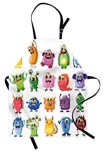 Lunarable Outer Space Apron, Little Monsters with Funny Goofy Gestures Bacteria Beasts Kids Themed, Unisex Kitchen Bib Apron with Adjustable Neck for Cooking Baking Gardening, Green Yellow ()