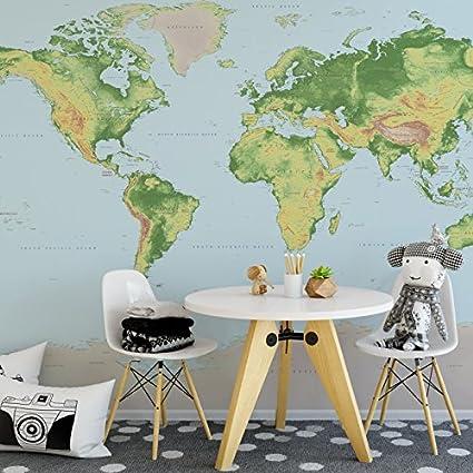Amazon Com World Map Wall Mural Premium Fleece Wallpaper