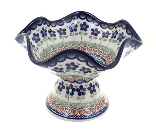 Polish Pottery Aztec Flower Pedestal Candy Dish