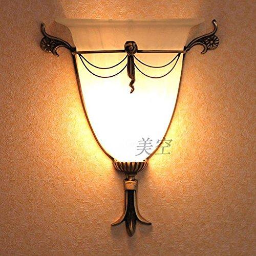 Vintage European Bronze Metal Torch Corridor Wall Lights Gate Door Cloud Pattern Glass Lampshade Wall Sconce American Backgroud Bathroom Mirror Front Wall Lighting Fixtures by bestsellerStars