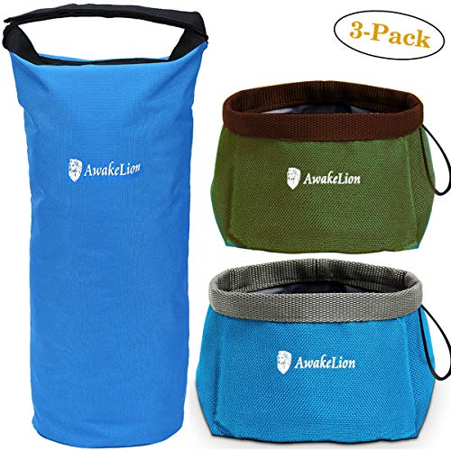 - Awakelion Collapsible Dog Bowl Kit, Portable Travel Dog Food Carrier +2 Pack Dog Bowl for Food and Water -Perfect for Medium & Large Dog