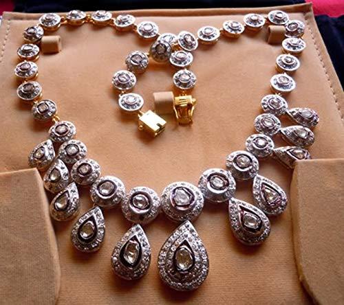 costozon rose cut diamond necklace 22.5 Tcw Rose Cut Diamond 925 Sterling Silver art deco jewelry
