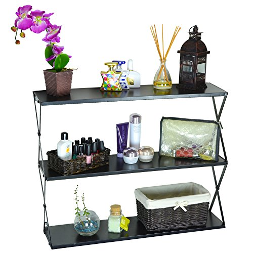 Contemporary Wall Shelves Decorative: Decorative 3 Tier Black Modern Wall Mounted Metal Storage Shelf / Bookcase / Display Shelving