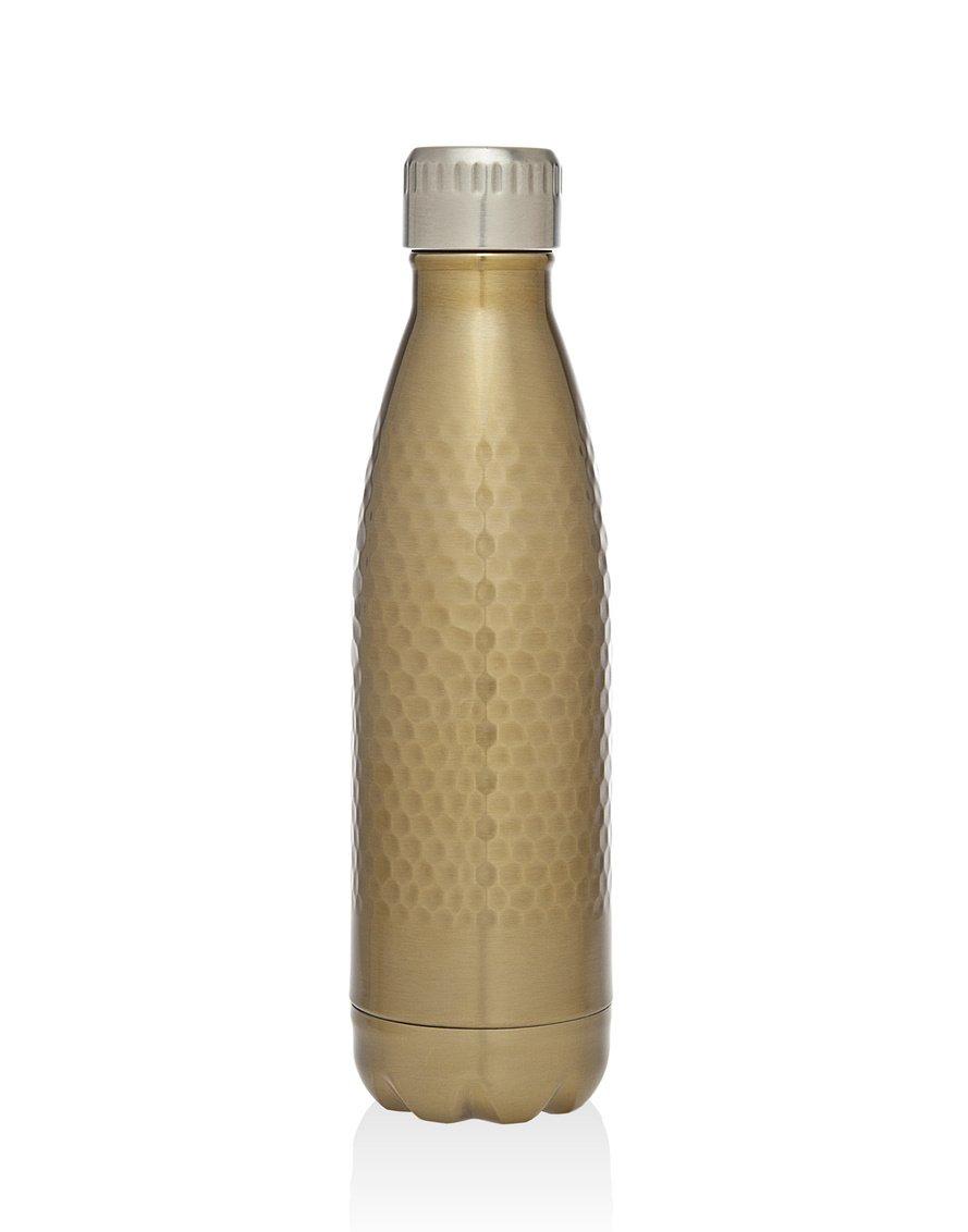 Godinger真空断熱旅行水ボトル  leak-proof二重壁ステンレススチールCola形状ポータブル水ボトル  no Sweating、Keeps Your Drink Hot & Cold   17 oz ( 500 ml ) B01MUE2VXC  Hammered Gold