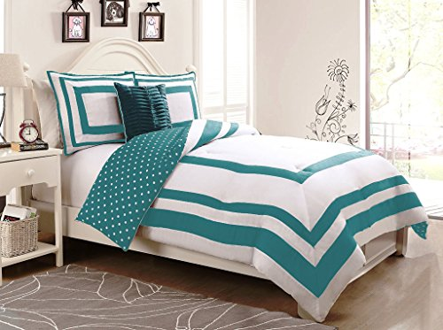 Geneva Home Fashion 4-Piece Hotel Juvenile Reversible Polka Dot Comforter Set, Full, ()