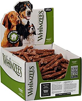 Whimzees Paragon Pet Products USA Veggie Sausage Dental Treat- Brown Small 150 Piece