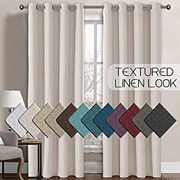 H.VERSAILTEX Linen Curtains Room Darkening Light Blocking Thermal Insulated Heavy Weight Textured Rich Linen Burlap Curtains for Bedroom/Living Room Curtain, 52 by 96 Inch - Ivory (1 Panel)