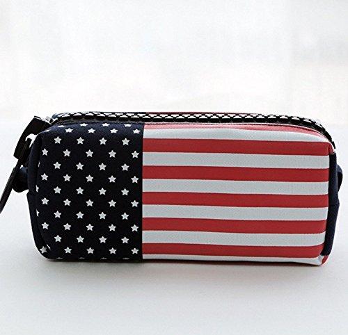 Student Canvas Pen Bag Pencil Case Travel Makeup Bag Pink - 2