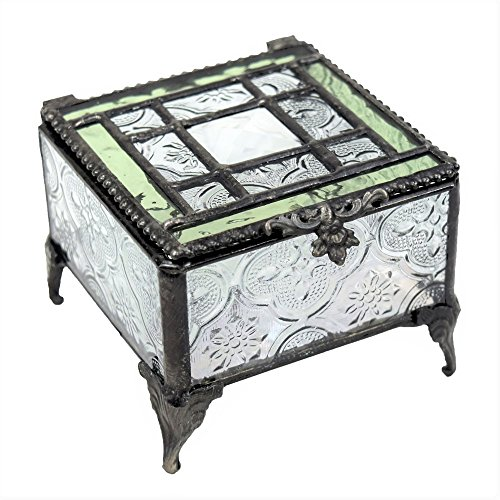 J Devlin Glass Art Box 354 Series Stained Glass Decorative Glass Box - Available in Sage Green or Pale Rose (Sage - Glass Jewel Box