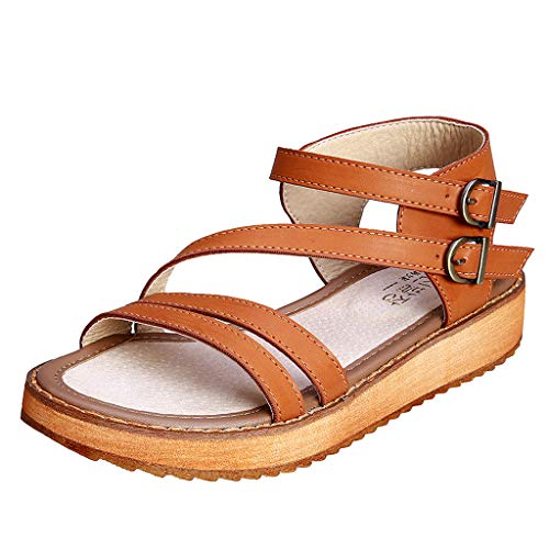 Women Fashion Vintage Peep Toe Cross Strappy Wedge Sandals Casual Non-Slip Classic Walking Sandals by Lowprofile Brown